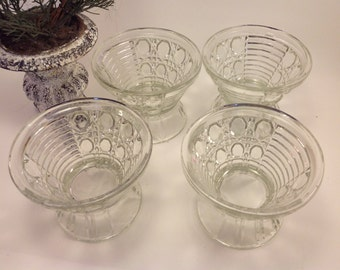 set of 4 vintage cut glass footed sherbet  bowls ribbing diamonds octagonal woven wicker pattern