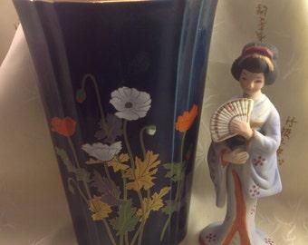 Yamaji Japan vase navy blue ceramic painted gold gilt poppy flower motif oval flared fluted details with bonus Japanese woman bisque figure