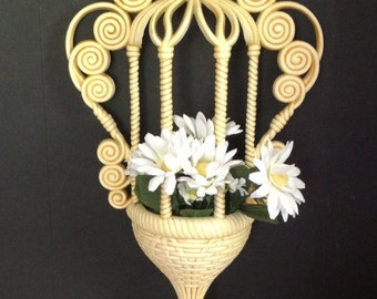 Vintage l972 Burwood Products (formerly Syroco)  wall hanging planter wicker-look ivory w/antique stain