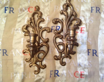 pair of gold painted candle wall sconces like Syroco