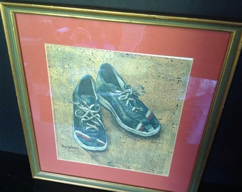 "vintage l976 signed limited watercolor art titled ""Unforgettable"" of child's worn blue tennis shoes/sneakers mat and frame by Sherry Husk"