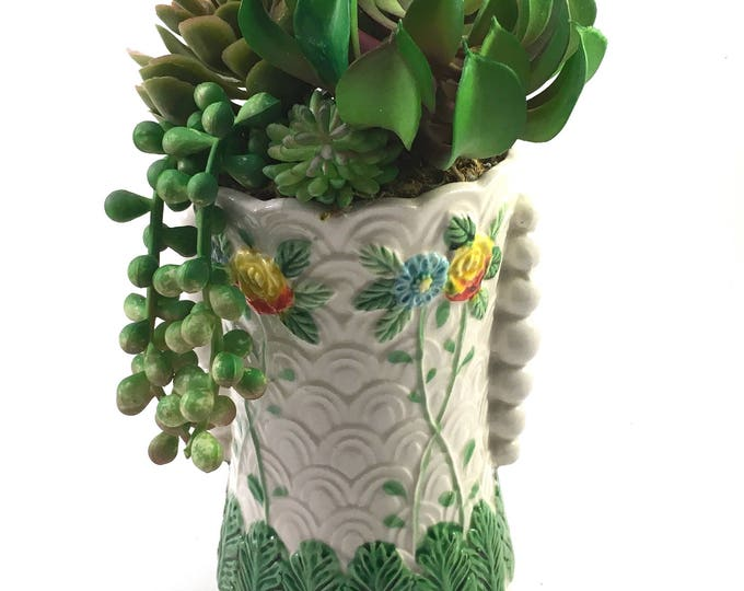 Featured listing image: Faux succulent plant arrangement in tall vintage ceramic planter vase with raised textural floral & leaf design marked Made in Japan