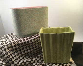 Q???? pair vintage midcentury ceramic pottery planters green rippled and a pink speckled marked Shawnee USA 1012