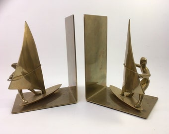 bookends all solid brass nautical Windsurfers with boards and sails man & woman figures by Enesco l978