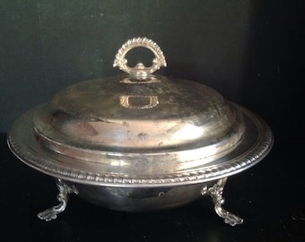 vintage silverplate footed casserole dish with lid B. F Rogers Silver Co.  Taunton MA