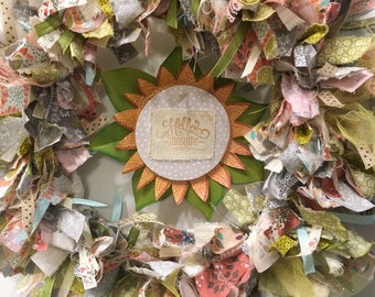 "rag wreath fabric and ribbon round 14"" metal frame with handmade sunflower wood hanging sign ""Hello Sunshine"""