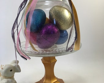 Spring Easter decorated glitter egg and gold base cloche handcrafted and assembled under glass on pedestal