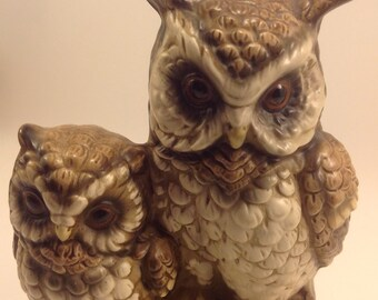 vintage Norleans Japan bisque ceramic woodland owl and owlet pair on log on wood look base