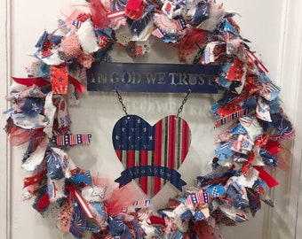 rag wreath fabric and ribbon patriotic American Summer Memorial Labor Day 4th of July tin metal sign 'In God We Trust' with corrugated heart