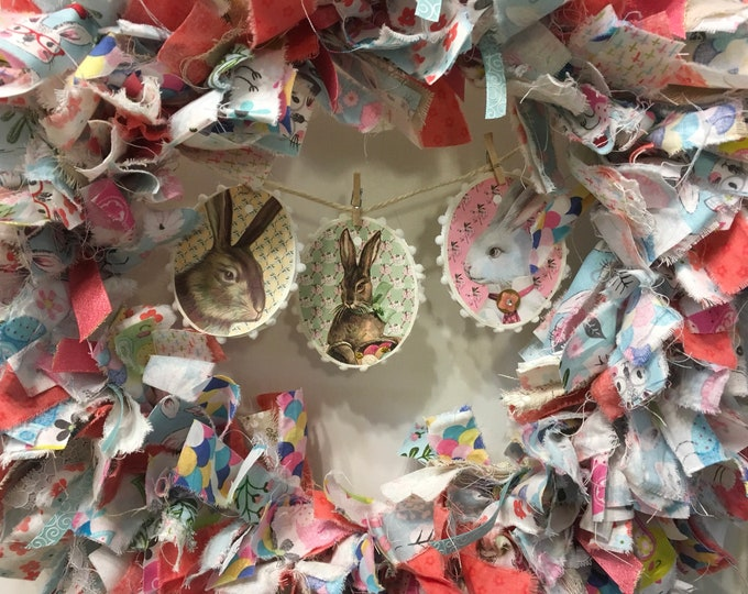 """Featured listing image: rag wreath Easter/spring round fabric and ribbon pastels handmade hanging rabbit hare banner 14"""" frame"""
