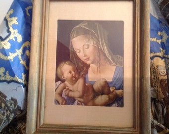 vintage Holy Virgin Mary Mother and Baby Jesus Renassiance religious print silk matted in silk wood frame