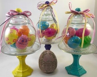 Spring Easter decorated egg cloche choice handcrafted and assembled under glass on pedestal