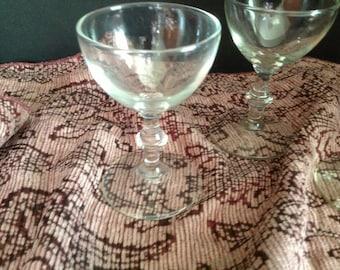set of four liqueur liquor stemmed glasses