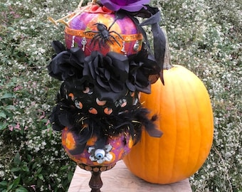 topiary of  3 stacked decorated halloween holiday pumpkins paper decopague on pedestel with vintage tag topper and more!