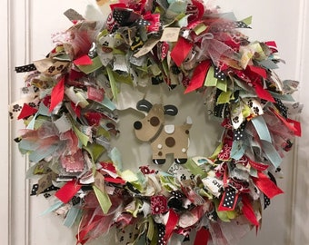 """rag wreath fabric and ribbon pet dog theme round 14"""" metal frame wood bone and spotted dog hang in center"""