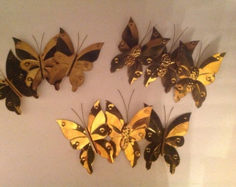 your choice of one set of three decorative brass butterflies handmade hand stamped