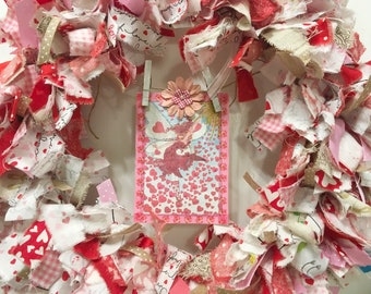 "Valentine's Day rag wreath fabric and ribbon round 14"" frame handmade fairy card banner"