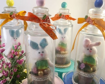 Spring Easter Bunny cloche choice handcrafted and assembled soft rabbit in terra cotta garden planter under glass on pedestal