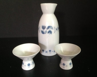 Noritake Saki set for two white with blue floral