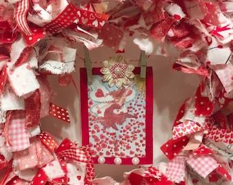 """Valentine's Day rag wreath round 12"""" frame handmade fairy card banner"""