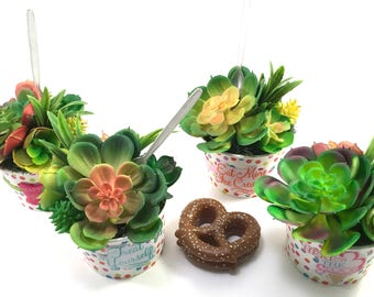 Choice faux succulent plant arrangement in polka-dot paper ice cream treat cup with spoon and puffy stickers
