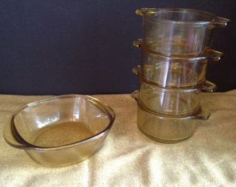 Set of 4 Mexican glass individual crocks and 1 serving crock in yellow gold