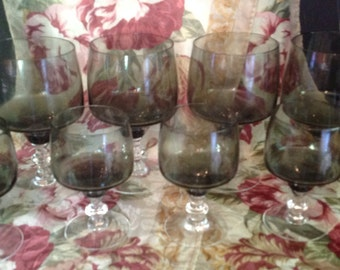 Set of 8 smoke grey stemmed footed crystal liquor bar glasses 4 medium 4 small