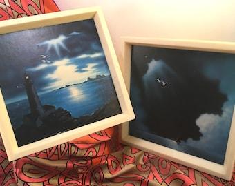 Retro 1970's framed prints on art board stormy seascapes sailboat seagulls lighthouse rocky shore dark cloudy sky Johnathon Living Seagull