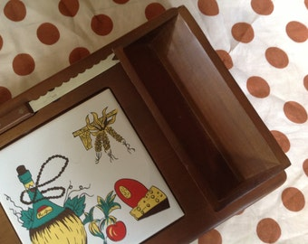 vintage cheese tray board server with cracker holder and knife by Hellerwood