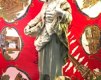 huge vintage plaster chalkware figural statue 18th century French woman at work with fish and shawl gold antiquing on all white/beige