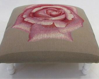 Corona Decor Co Rosa Pink French Woven Footstool