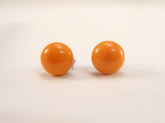 fused glass ear post Murano Glass orange stud earrings dot earrings surgical steel Made in Italy