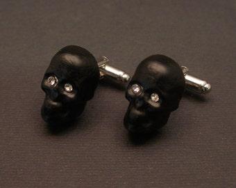 Murano Glass Skull Cufflinks, goth jewelry, swarovski crystals, skull cuff links, Made in Italy