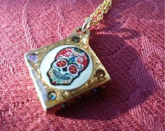 1950s sugar skull pendant
