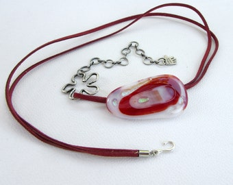 Fused glass necklace, shades of brick red