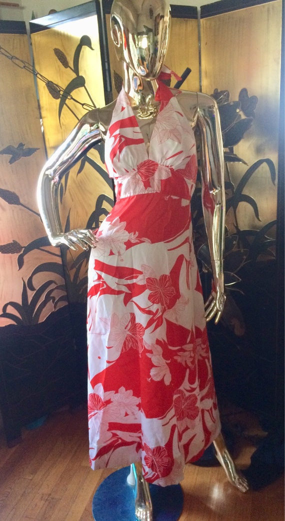 Vintage Hawaiian Halter Maxi Dress - image 1