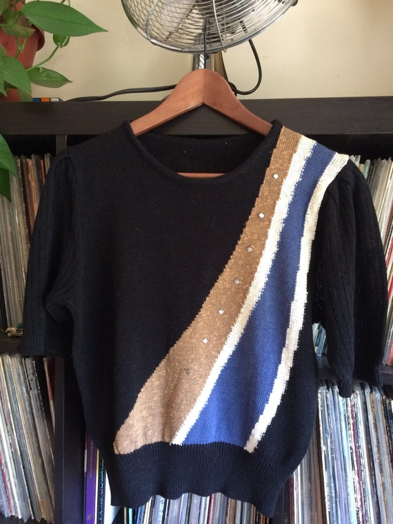 Vintage 70s short sleeve Disco Sweater