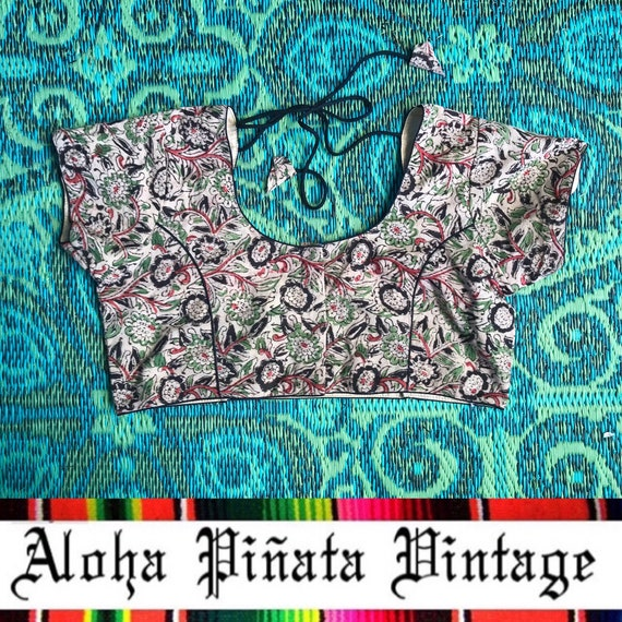 Vintage Indian Cotton Gauze Crop Top - image 1
