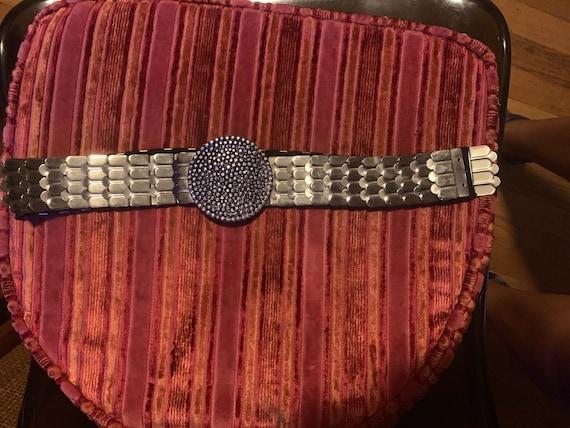 Vintage Silver Metallic stretch belt