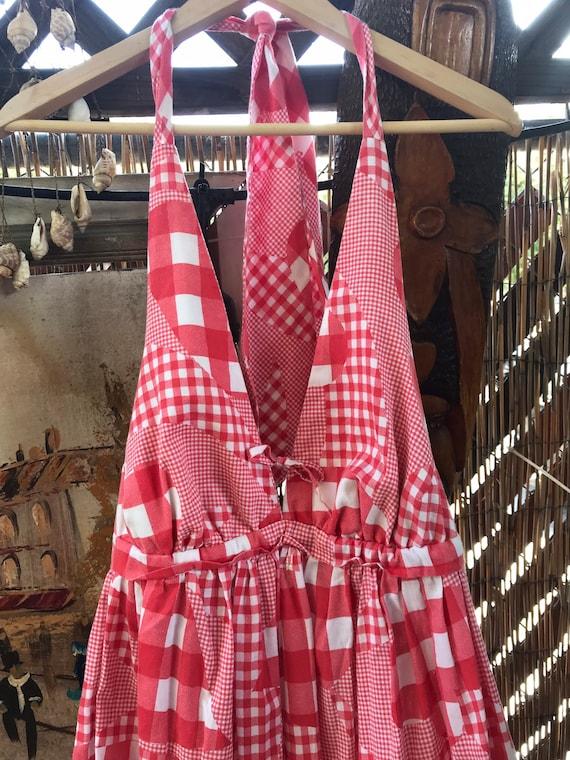 Vintage Cotton Halter Maxi Dress - image 3