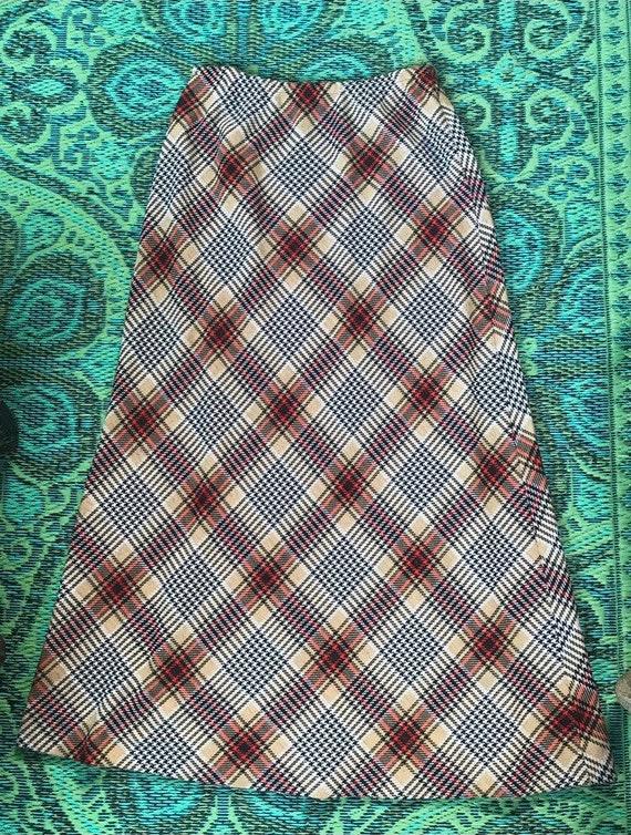 Vintage Maxi Plaid Skirt - image 2