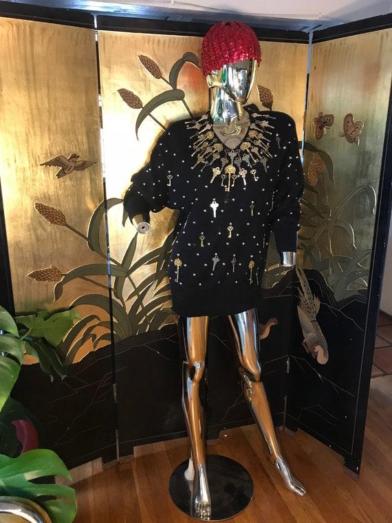 Vintage Embellished Gold Key Sweater by Bonnie Bo… - image 6