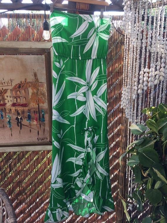 Vintage Hawaiian Dress strapless bamboo print by W