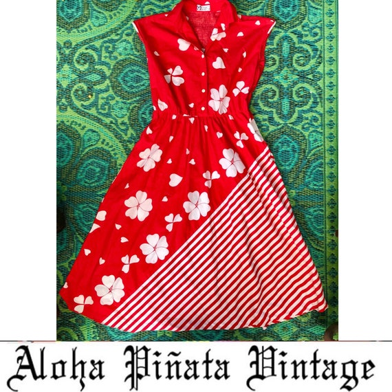 Vintage Cotton Heart Print Dress