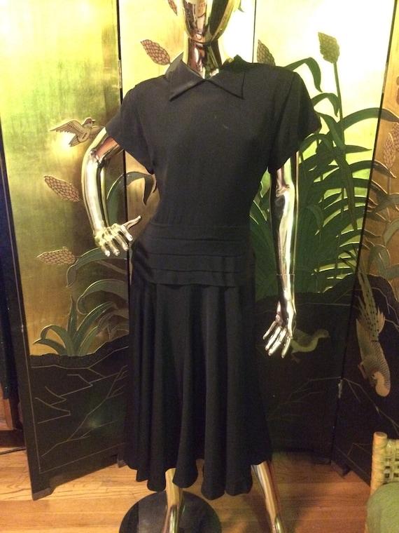 Vintage 40s Black Dress