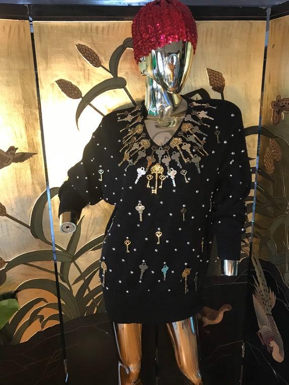 Vintage Embellished Gold Key Sweater by Bonnie Bo… - image 3