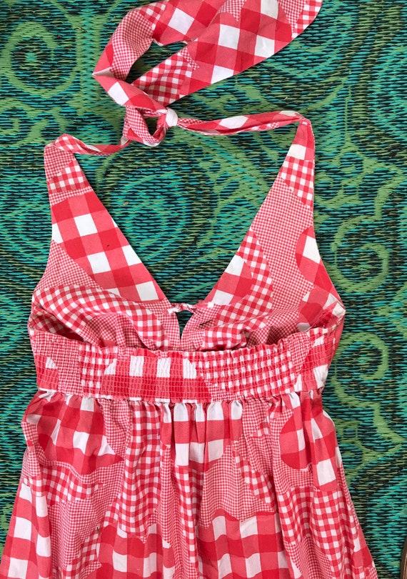 Vintage Cotton Halter Maxi Dress - image 4