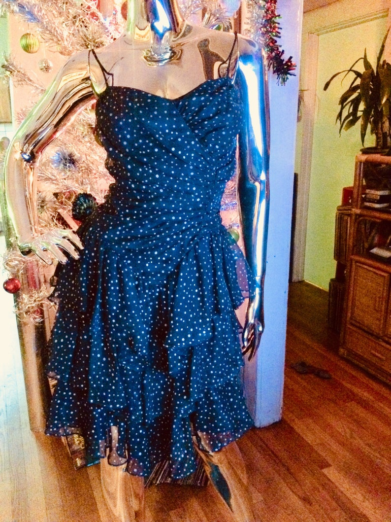 Vintage 80s tiered polka dot Dress with Corset lace up back by New Leaf