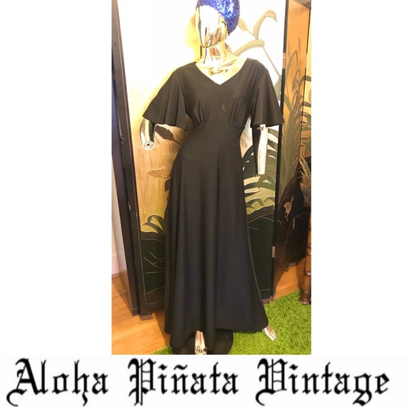Vintage 70s Flutter Sleeve Maxi Dress