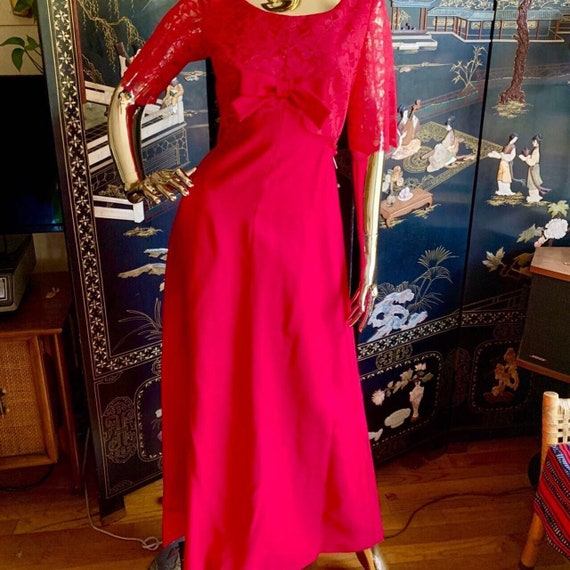 Vintage 50s Evening Dress by Emma Domb Pink